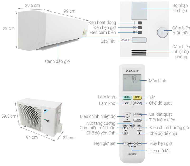 rkc25uavmv inverter gas r32 1.0 HP 1 - Máy lạnh Daikin FTKC25UAVMV/ RKC25UAVMV (Inverter, Gas R32, 1.0 HP)